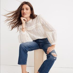 Madewell Classic Straight Jeans Knee Rip Edition
